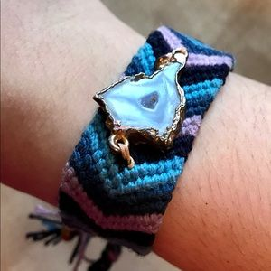 OOAK - Handwoven bracelet with crystal